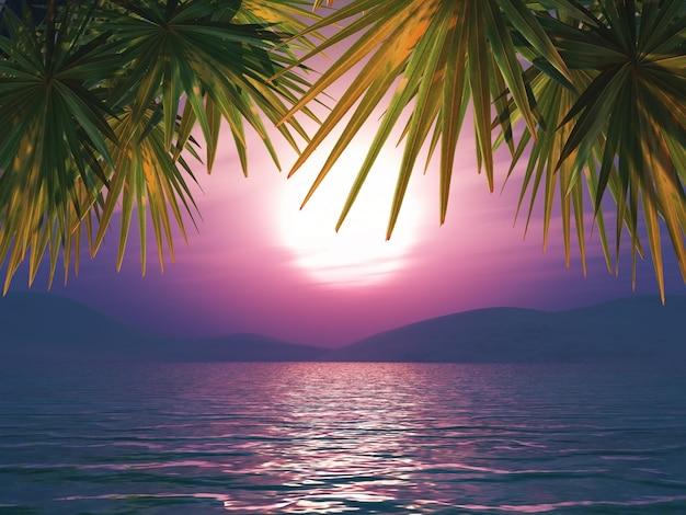 von einem sonnenuntergang meer landschaft mit palmen bl tter 3d bertragen download der. Black Bedroom Furniture Sets. Home Design Ideas