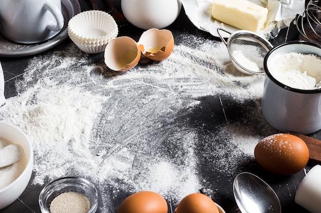 Vorbereitung, die küchenbestandteile für das kochen backt Kostenlose Fotos