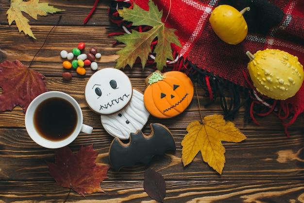Vorbereitung Fur Halloween Herbst Dekor Kurbisse Schottenkaro