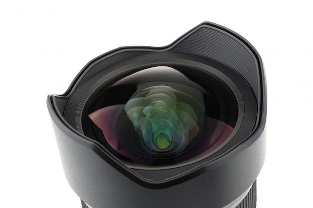 Vorderansicht des fotokameraobjektivs über weißem hintergrund Premium Fotos