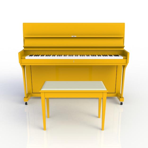 Vorderansicht des gelben klaviers des klassischen musikinstrumentes lokalisiert auf weißem hintergrund Premium Fotos