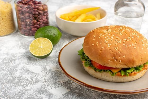Vorderansicht des hühnchensandwiches mit grünem salat und gemüse innen mit pommes frites auf hellem schreibtisch Kostenlose Fotos