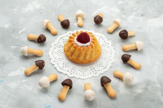 Vorderansicht stick cookies weich mit verschiedenen schokoladenumhängen mit kuchen auf dem grauen hellen oberfläche kuchen cookie keks ausgekleidet Kostenlose Fotos