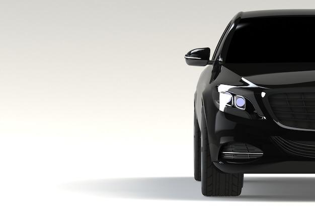 Vorderansichtteil der schwarzen modernen autonahaufnahme auf weißem hintergrund Premium Fotos