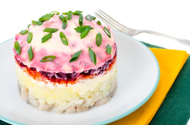 Vorspeise aus gemüse, rüben, eingelegtem hering und mayonnaise Premium Fotos