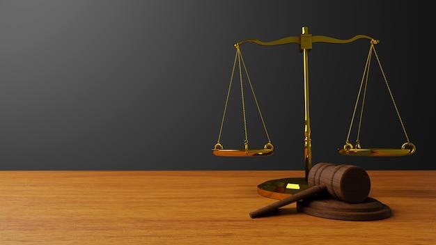 Waage der gerechtigkeit gesetz waage und hammergesetz holzrichter hammer hammer and base 3d rendern Premium Fotos