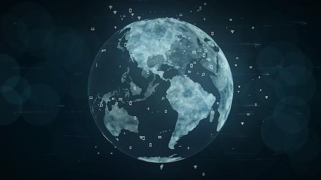 Wachsendes globales netzwerk- und daten-verbindungs-konzept Premium Fotos