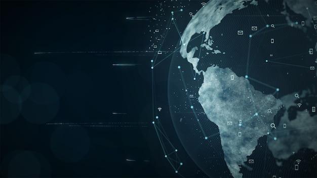 Wachsendes globales netzwerk- und datenverbindungskonzept. wissenschaftliches datennetzwerk. Premium Fotos