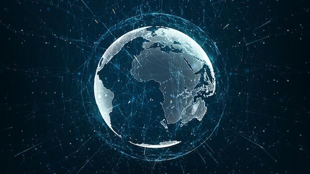Wachsendes globales netzwerk- und datenverbindungskonzept. Premium Fotos