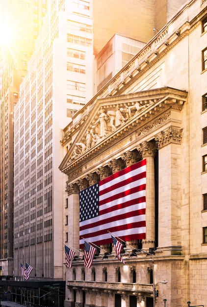 Wall street in new york Premium Fotos