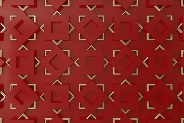 Wand des rotes und des gold 3d für hintergrund, hintergrund oder tapete Premium Fotos
