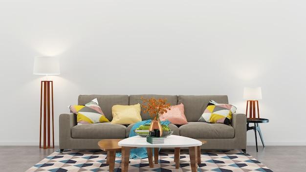 Wand holzboden interieur sofa stuhl lampe innenraum 3d wohnzimmer Premium Fotos