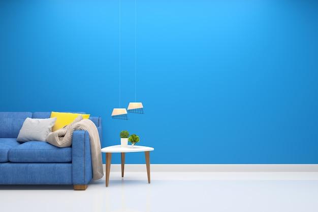 Wand holzfußboden interieur sofa stuhl lampe interieur 3d wohnzimmer Premium Fotos
