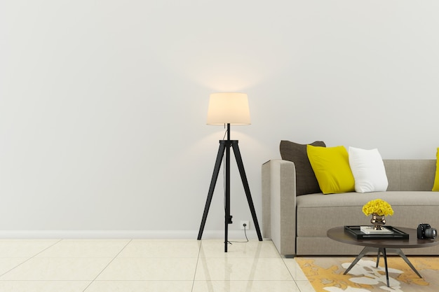Wand marmorboden interieur sofa stuhl lampe interieur 3d wohnzimmer Premium Fotos
