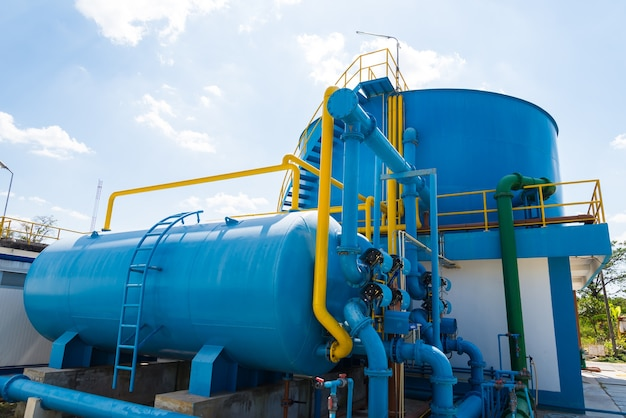 Wasseraufbereitungsprozess und wasseraufbereitungsanlagen Premium Fotos