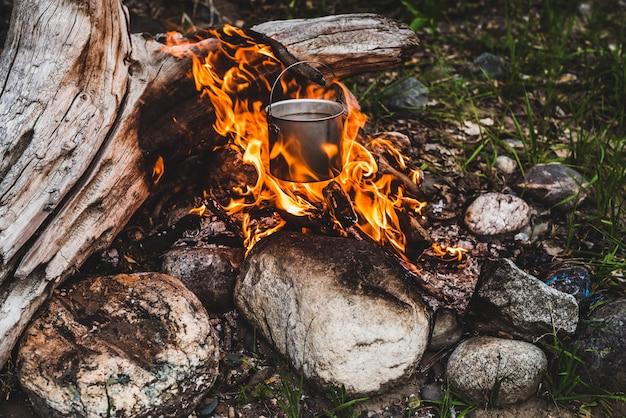 Wasserkocher über feuer hängen. kochen am feuer in freier wildbahn. schöne große holzbrände in lagerfeuer nahaufnahme. überleben in wilder natur. wunderbare flamme mit kessel. topf hängt in flammen. Premium Fotos