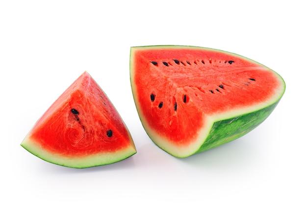 Wassermelone lokalisiert auf weißem hintergrund Premium Fotos
