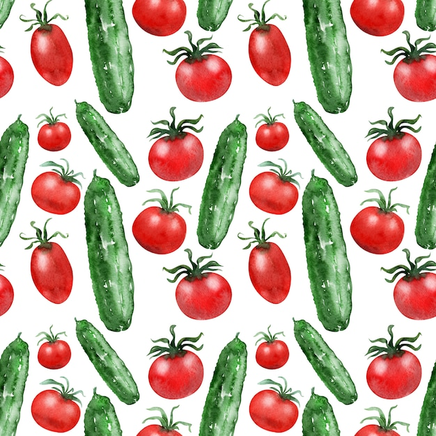 Watercolor backgroundbild tomaten und gurken Premium Fotos