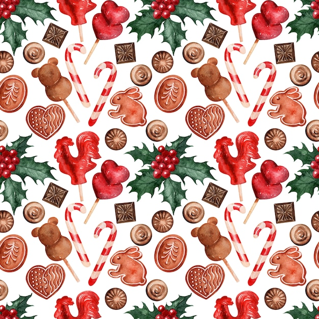 Watercolor backgroundbild weihnachtsferien süßigkeiten Premium Fotos