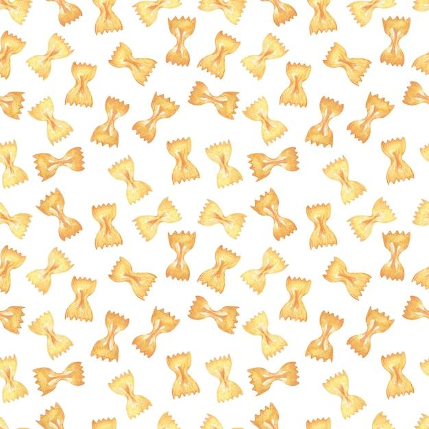Watercolor seamless patternbild italienische pasta. nudelsorten Premium Fotos