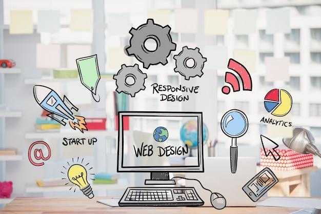 Web-Design-Konzept mit Zeichnungen Kostenlose Fotos