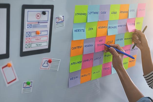 Webdesigner-brainstorming für einen strategieplan. Premium Fotos