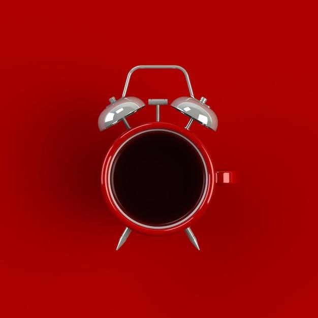 Wecker- und kaffeekonzeptillustration lokalisiert auf rotem hintergrund Premium Fotos
