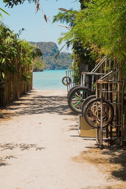 Weg geht zum schönen idyllischen strand Kostenlose Fotos