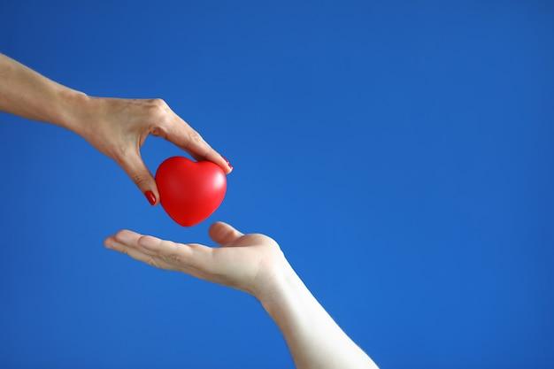 Weibliche hand geben der männlichen hand auf der blauen raumnahaufnahme rotes herz. Premium Fotos