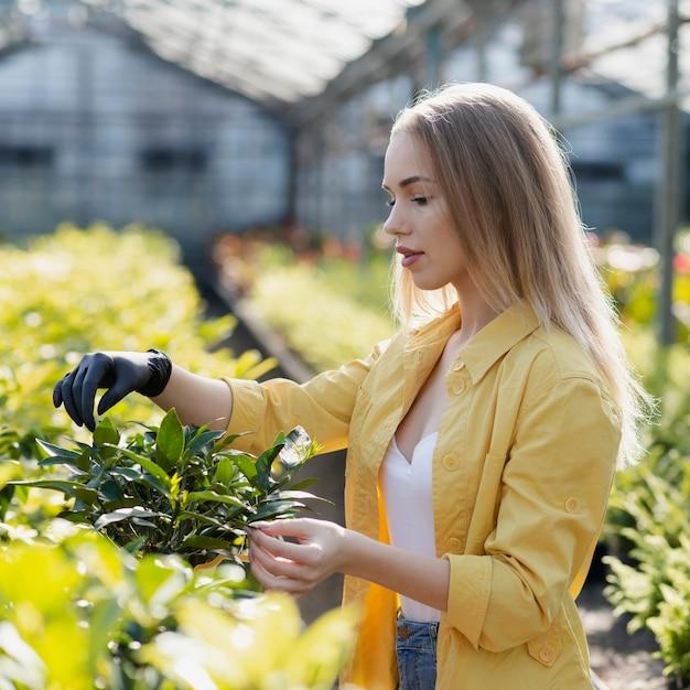 Weibliche mitfühlende pflanzen der seitenansicht Kostenlose Fotos