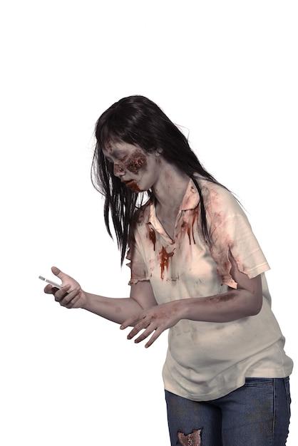 Weiblicher zombie, der mobiltelefon hält Premium Fotos
