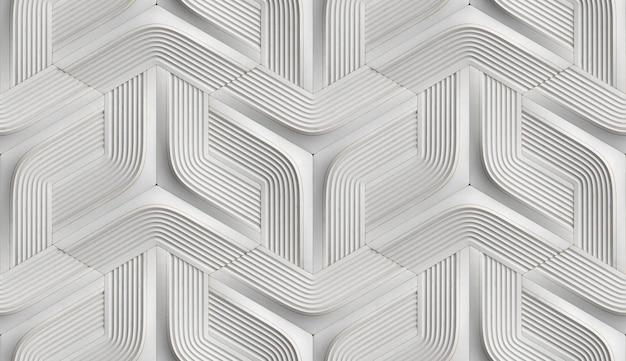 Weiche geometrieform der 3d-fliesen aus schwarzem leder mit goldenen dekorstreifen und raute Premium Fotos