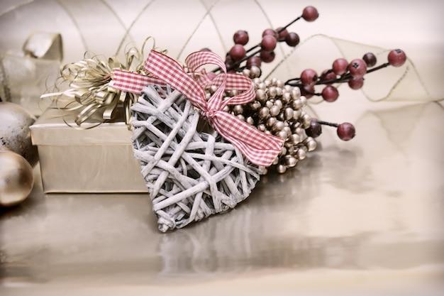 Weihnachten Hintergrund Mit Einem Herz Aus Holz Dekoration