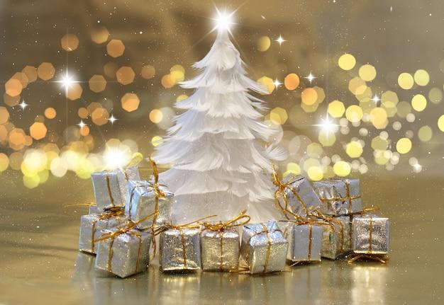 weihnachten hintergrund mit feder baum und geschenke. Black Bedroom Furniture Sets. Home Design Ideas