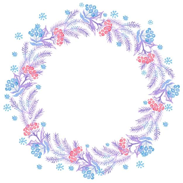 Weihnachtsaquarellkränze für dekoration Premium Fotos