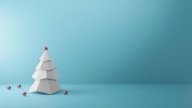 Weihnachtsbaum auf papierfarbhintergrund mit kopienraum minimaler stil 3d übertragen Premium Fotos