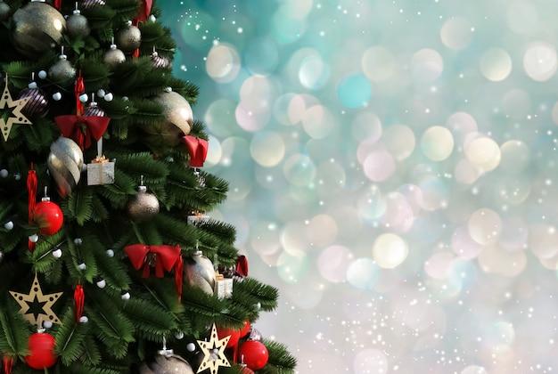 Weihnachtsbaum gegen einen glitzernden leuchtenden hintergrund Premium Fotos