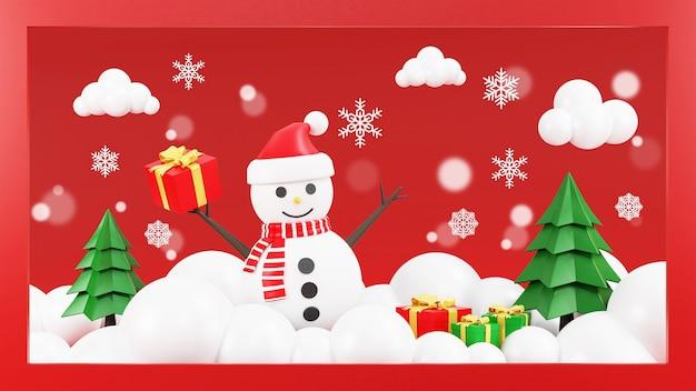 Weihnachtsbaum mit schneemann Premium Fotos