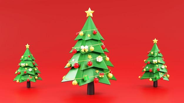 Weihnachtsbaum mit weihnachtsschmuck Premium Fotos