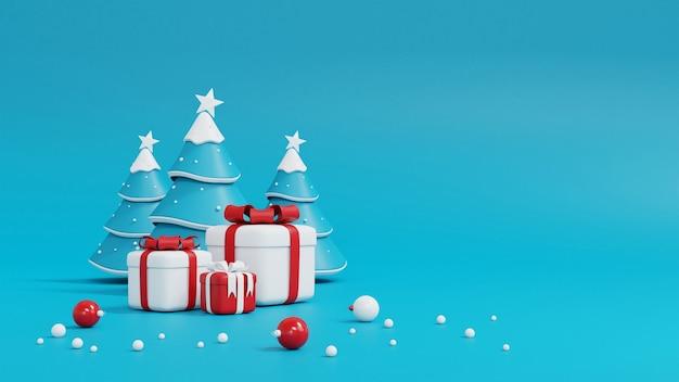Weihnachtsbaum und geschenkbox auf blau Premium Fotos