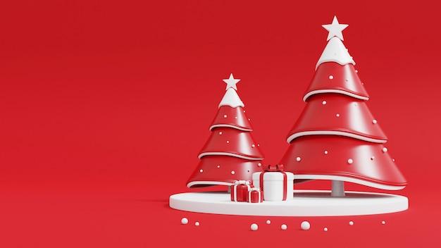 Weihnachtsbaum und geschenkbox auf rot Premium Fotos