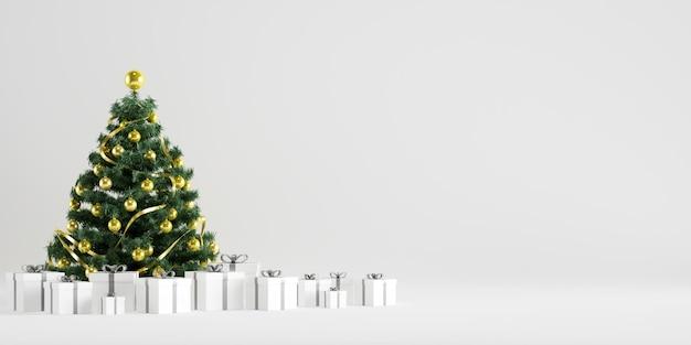 Weihnachtsbaum-winter-dekoration mit geschenkboxen im weißen hintergrund Premium Fotos