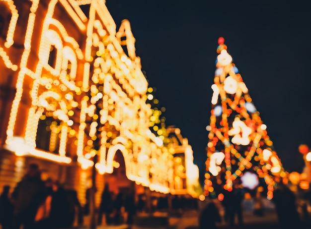 Weihnachtsbeleuchtungen und dekorationen von weihnachten und von neuem jahr in moskau, russland. rotes quadrat Premium Fotos