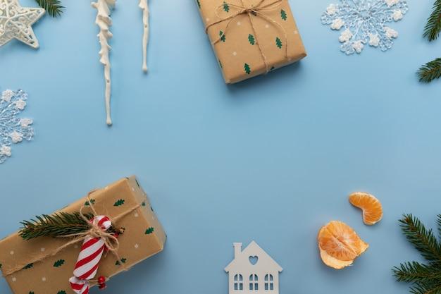 Weihnachtsblauer hintergrund Premium Fotos