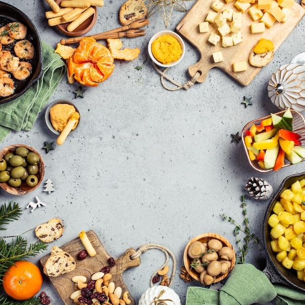 Weihnachtsessen party tabellenhintergrund Premium Fotos