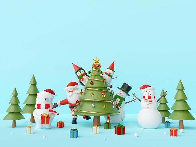 Weihnachtsfeier weihnachtsmann und freund mit weihnachtsbaum 3d rendering Premium Fotos