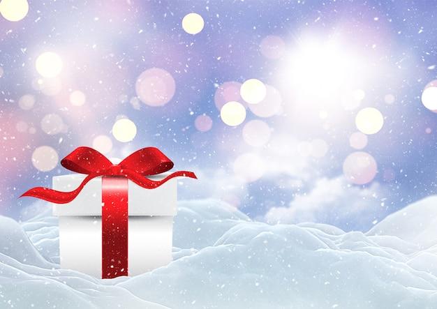 Weihnachtsgeschenk 3d nestled in einer schneebedeckten landschaft Kostenlose Fotos