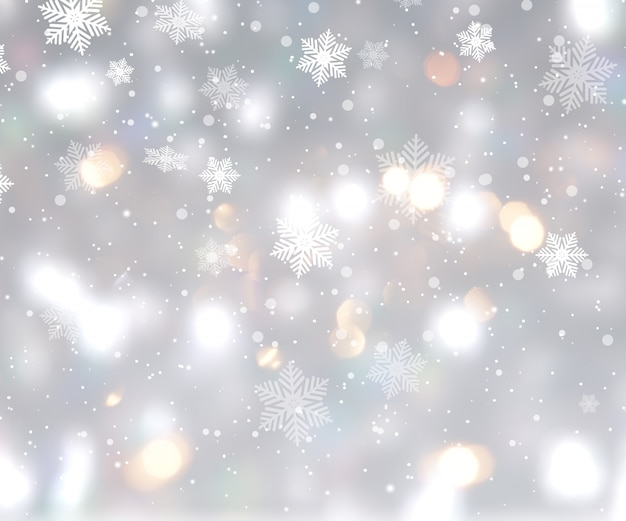 Weihnachtshintergrund mit bokeh lichtern und schneeflocken Kostenlose Fotos