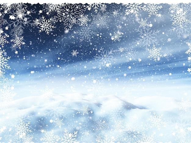 Weihnachtshintergrund mit schneebedeckter landschaft und schneeflockengrenze Kostenlose Fotos
