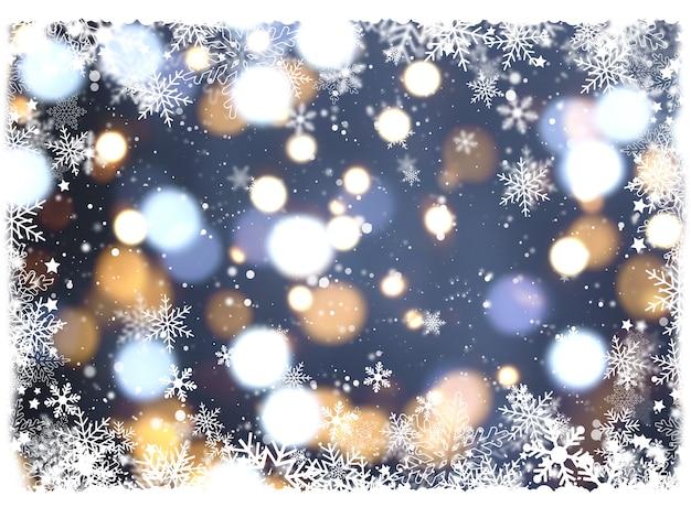 Weihnachtshintergrund mit schneeflocken und bokeh leuchten Kostenlose Fotos